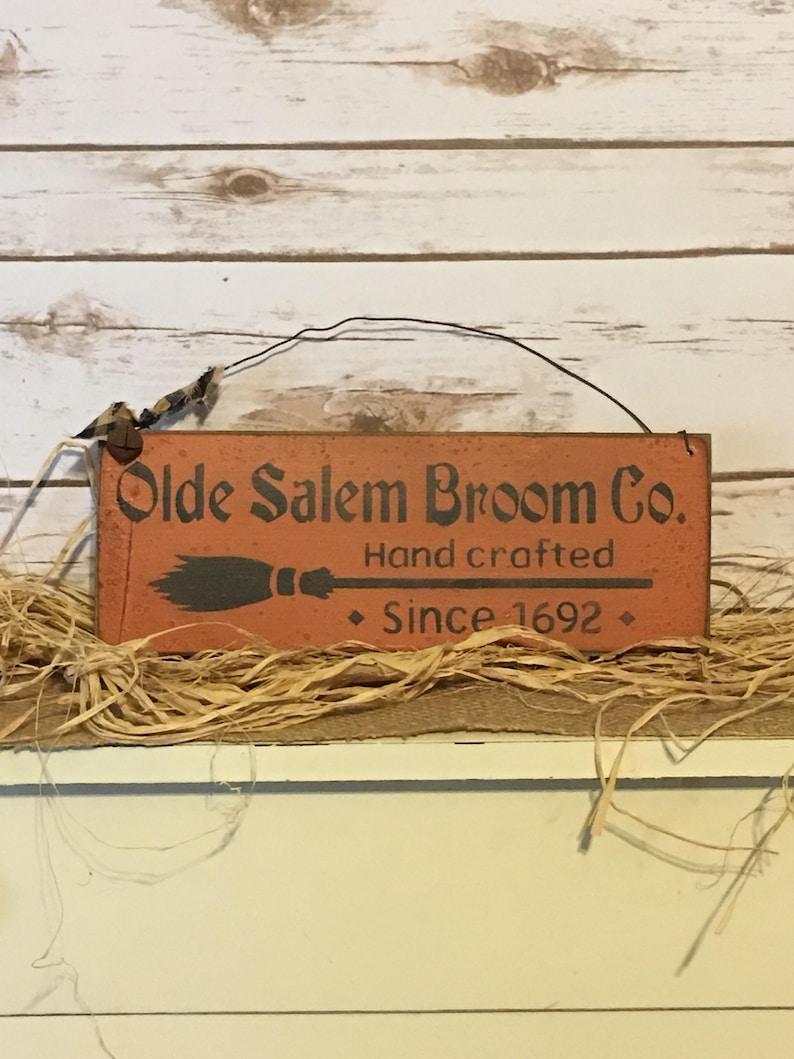 Primitive Halloween Olde Salem Broom Company Primitive Sign image 0