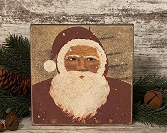 Primitive Folk Art Santa ~ Primitive Santa Sign ~ Primitive Christmas ~ Farmhouse Christmas Decor