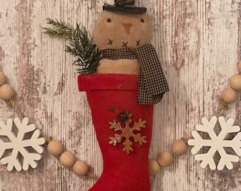 Primitive Snowman, Christmas Stocking, Primitive Snowman Decor, Prim Snowman