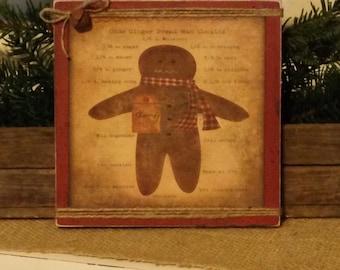 Ginger Bread Man Sign, Christmas Decor, Primitive Christmas Decor, Ginger Bread Cookies, Country Christmas, Kitchen Decor, Christmas Gift