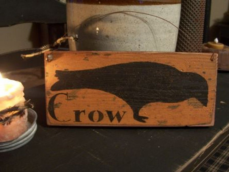 Primitive Grungy Crow Sign Handmade Wood Sign Primitive Crow image 0