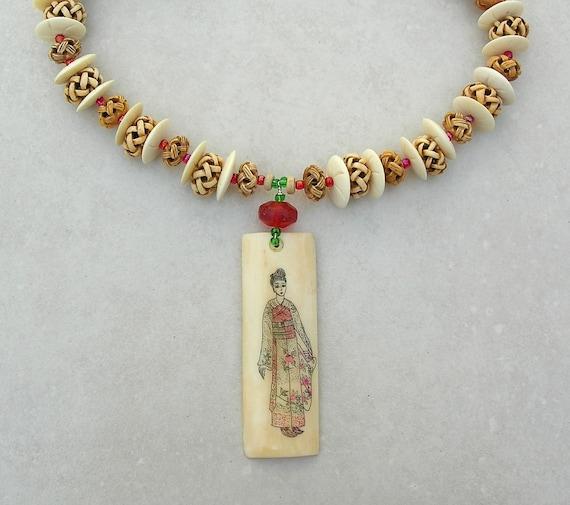 Geisha Necklace Reversible Bone Pendant Carved Bone Beads Etsy