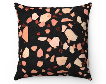 """Black Blush Terrazzo Vegan Suede Pillow 