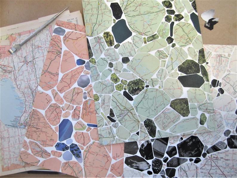 CUSTOM Terrazzo Collage Vintage Maps  Art  Design image 0
