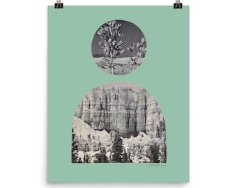 Print Minimal Desert Sunrise Portal Art Bohemian Modern Aesthetic Desert Landscape | Sage Green Black White Vintage  8x10, 12x16, 16x20
