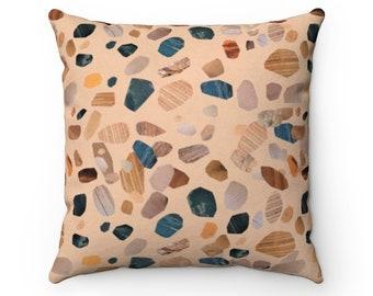 "Desert Terrazzo Vegan Suede Pillow | Teal Terracotta Neutral Eclectic Bohemian Modern Abstract | Living Room Bedroom Office 14"" 16"" 18"" 20"""