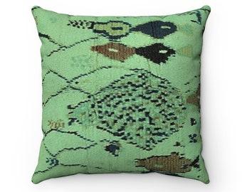 "Mint Green Vegan Suede Pillow | Eclectic Bohemian Modern Moroccan Berber Faux Rug Geometric Pattern | New Home Housewarming 14"" 16"" 18"" 20"""