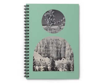 Spiral Notebook, Lined Pages, Sage, Desert Sun, Rock Formations, Bohemian Modern, Minimal, Dream diary, Journal, Home office, Stationery