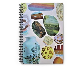 """Spiral Notebook, Chinese Vase, Cheetah print, Colorful, Eclectic, Lined Pages, Journal, Home Office, Self Care, Writing Therapy, 6"""" x 8"""""""