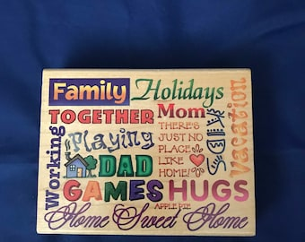 Vintage, Family Block, Stampendous, Hugs, Home Sweet Home, Vacation, Kids, Mom, Dad, Holidays