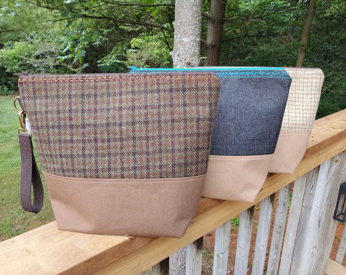 Extra large project bag - OOAK Denim & Tweed