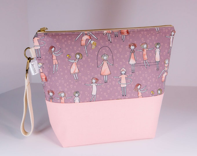 Extra large project bag - Girls and hearts