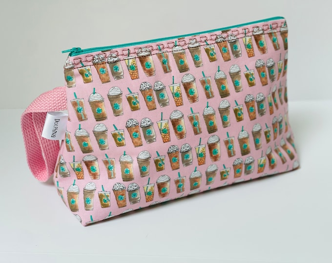Large project bag - Coffee cup line up (pink)