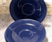 On SALE Vintage Homer Laughlin Fiesta Cobalt Blue Saucers, Set of Five, 1940s Original Pottery Dinnerware, Hard To Find Color, Kitchen Dinne