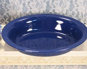 Vintage Homer Laughlin Fiesta Riveria Style Cobalt Blue Oval Vegetable Serving Bowl, 1940s to 1950s California Pottery Dinnerware, Kitchen
