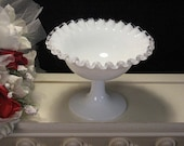 Vintage Fenton Glass Silver Crest Footed Candy Compote, 1950s Elegant Depression Glass, White Milk Glass, Home Decor, Glass Dinnerware