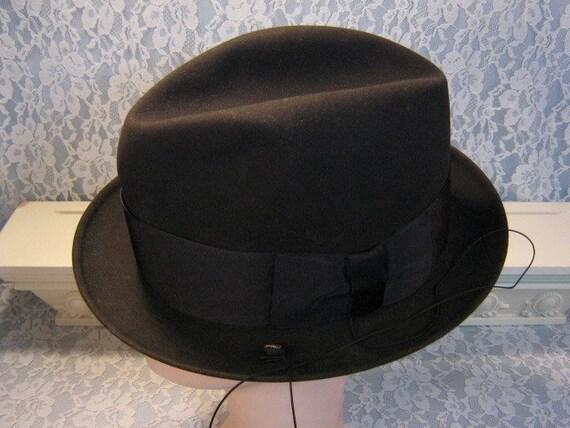 Online-Verkauf sehr bequem Temperament Schuhe Stetson Hat Mens Twenty Five Black Fedora with Trolley Cord & Box, Vintage  1960's Mid Century, Original Box, Size 7 1/8, Vintage Mens Hat