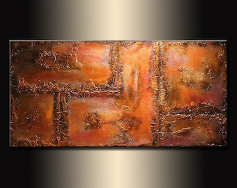 Abstract Painting,  Original Metallic Contemporary Art,  Modern Abstract Rich Textured Metallic fine art,  by Henry Parsinia Large 48x24