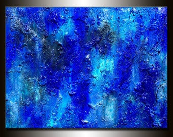 Abstract Painting Textured, Large Blue Contemporary Modern Canvas art, Oversize Blue Abstract painting  by Henry Parsinia ready to hang
