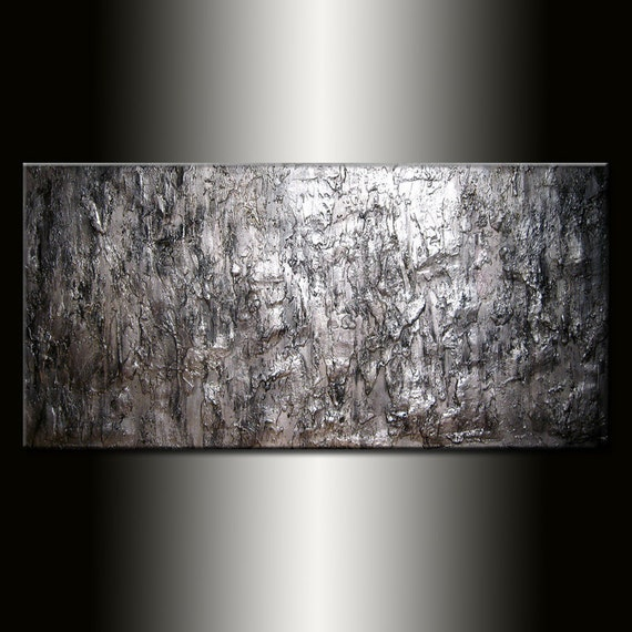 Abstract Painting Textured Metallic Silver Wall Art Painting On Canvas Abstract Art Modern Fine Art