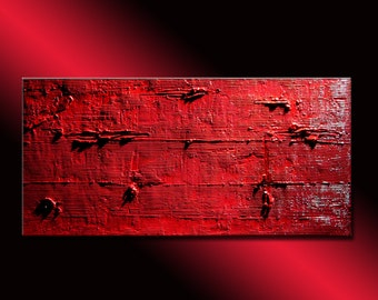 Abstract Painting, Red Abstract Painting,  Original Textured Abstract Painting, Contemporary Wall Art, by Henry Parsinia Large 48x24