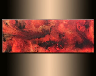 Abstract Painting, Original Abstract painting, Contemporary Modern Fine Art, Red ,Black Canvas Art, by Henry Parsinia Large 48x18