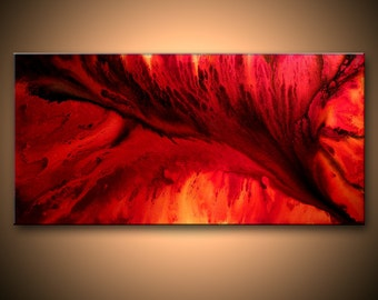 Abstract Painting, Red Abstract Canvas Art, Modern Fine Art, Marble Painting Wall Art Home Decor