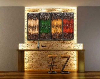 Original Textured Abstract painting Contemporary Multipanel Fine Art by Henry Parsinia Large 36x64