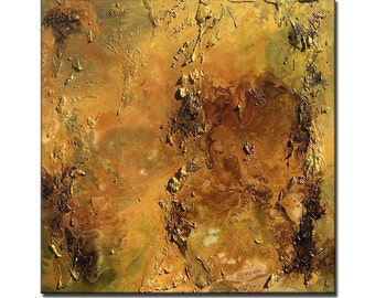 Abstract Painting, Oversize Original Abstract Painting, Rich Textured Metallic Gold Painting Contemporary Canvas Art by Henry Parsinia