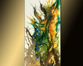Abstract painting, Colorful Contemporary Modern Fine Art, Green,yellow Abstract Painting, Large Colorful Canvas Art, by Henry Parsinia 48x24