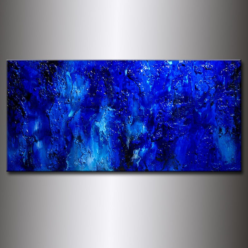 Original Blue Textured Abstract Painting Modern Wall Decor image 0
