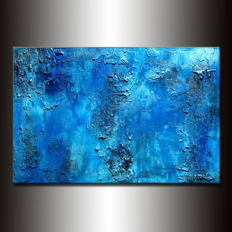 Textured Blue abstract painting Original modern contemporary image 0