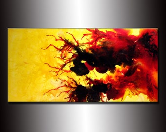 Modern Abstract Art, Original Large Abstract Painting, Red, Yellow, Black Abstract Wall Art, Modern Fine Art On Canvas