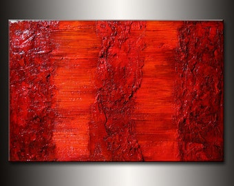 Original Rich Textured  Orange Brown Abstract Painting, texture Canvas Art by Henry Parsinia large 36x24