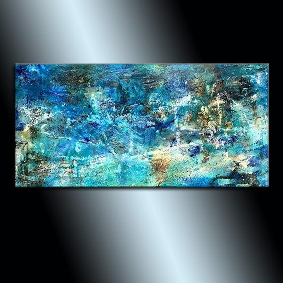 Texture Wall Art Original Modern canvas painting Blue | Etsy