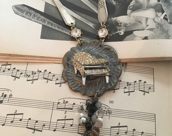 Vintage Piano Vintage Silverware Necklace