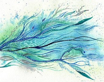 Windrunner - ORIGINAL intuitive abstract watercolour painting in blue and green