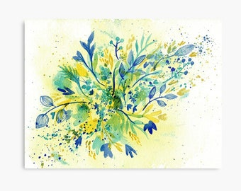 Turquoise and Gold Wildflowers - ORIGINAL watercolour painting on paper in turquoise, gold and blue by Kirsten Bailey