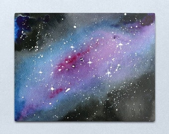 Look up at the Stars 3 - ORIGINAL galaxy cosmic starry night painting on paper in purple blue and black