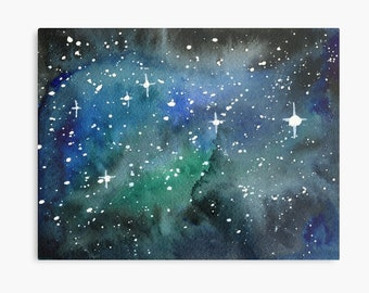 Look up at the Stars 2 - ORIGINAL galaxy cosmic starry night painting on paper in green blue and black