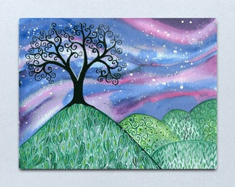Lonely Night - ORIGINAL watercolour painting on paper of a swirly tree on bright green hills with a starry night sky