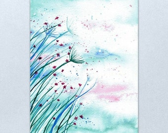 Bright Breeze - Whimsical blue, green and pink wildflowers painted in watercolour on watercolour paper