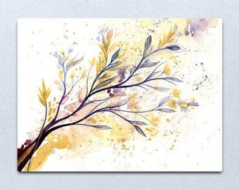 Memories of Spring - Watercolour painting on paper of flowers and leaves in shimmery gold and purple