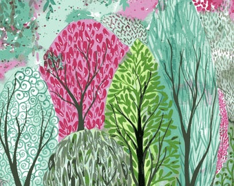 Forest flags - bright whimsical watercolor tree painting in pink and green