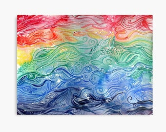 Chasing Rainbows - ORIGINAL intuitive abstract watercolour painting on paper in rainbow colours by Kirsten Bailey