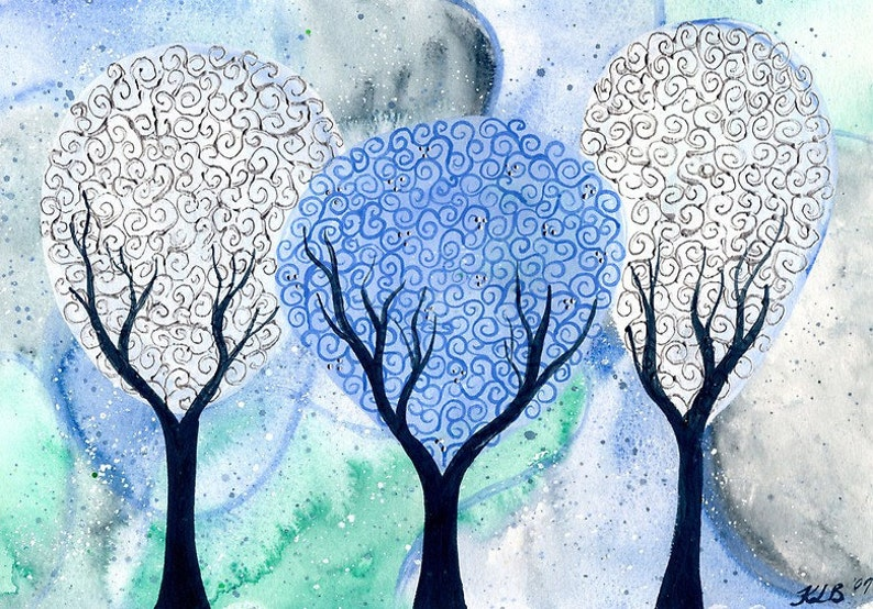 Silver White Winter  original watercolour tree painting by KL image 0