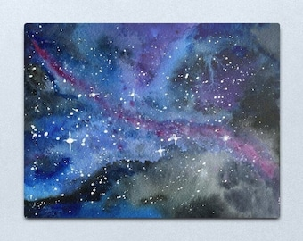 Look up at the Stars 1 - ORIGINAL galaxy cosmic starry night painting on paper in purple blue and black