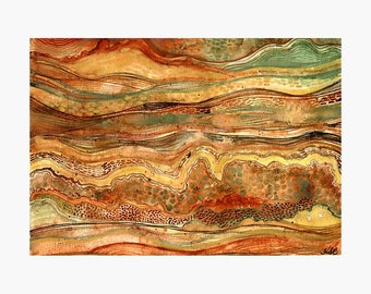Subterranean 2 - ORIGINAL watercolour painting on paper inspired by sedimentary rock and soil layers