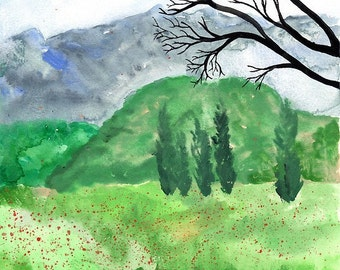 Scenery Near Arro - Original Watercolour landscape Painting