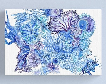 Blue Reef - ORIGINAL intuitive abstract watercolour painting on paper in blue and purple